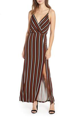 All in Favor Surplice Neck Knit Maxi Dress