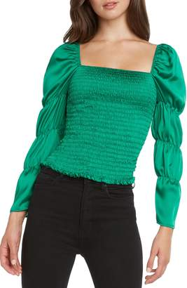 Willow & Clay Smocked Puff Sleeve Satin Top