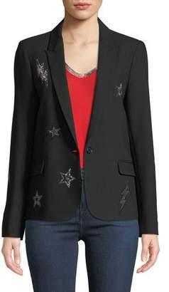 Zadig & Voltaire Victor Embellished Crepe Blazer