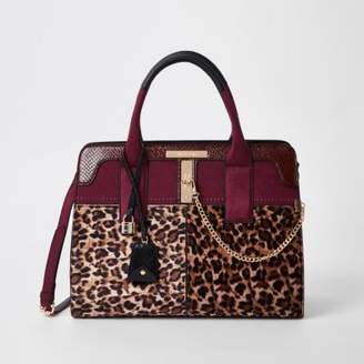 River Island Dark red leopard print tote bag
