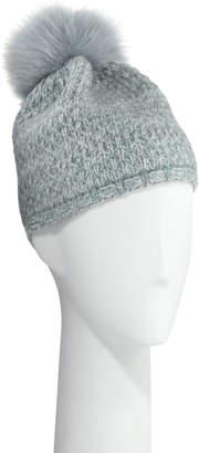 Portolano Cashmere Knit Beanie w/ Fur Pompom