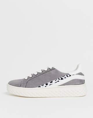 London Rebel leopard trim lace up sneakers