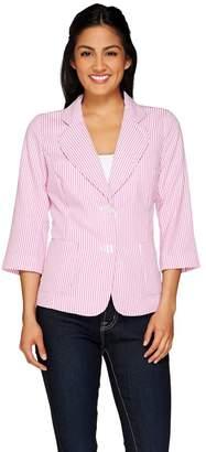 Joan Rivers Classics Collection Joan Rivers Seersucker Jacket with 3/4 Sleeve