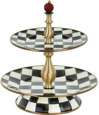 Mackenzie Childs Courtly Check Enamel Two-Tier Sweet Stand