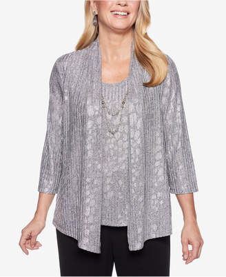 Alfred Dunner Petite Shining Moments Cascade Shimmer Layered-Look Top