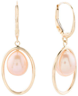 Made In Usa 14k Gold Pink Pearl Halo Earrings