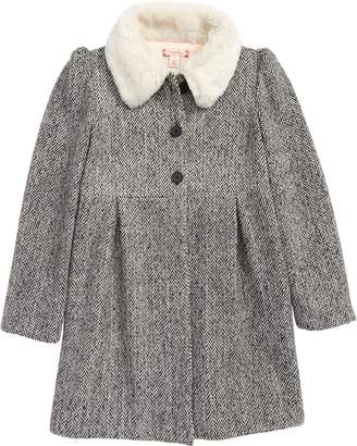 Ruby & Bloom Cozy Faux Fur Collar Swing Coat