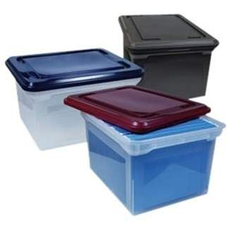 Advantus File Tote Storage Box with Snap-on Lid Closure, Letter/Legal, Clear/Black 55802