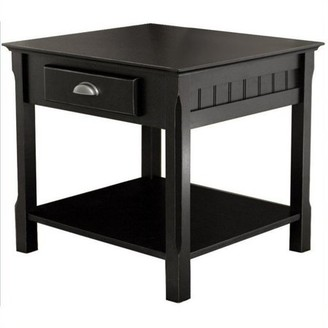 Winsome Wood Timber End Table with Drawer, Black Finish