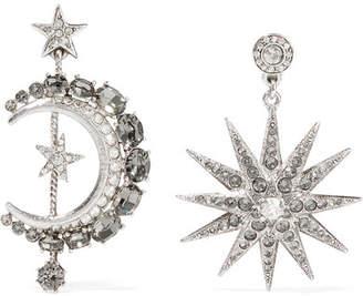 Oscar de la Renta Moon And Stars Silver-plated Crystal Earrings
