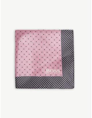 BOSS Logo polka-dot silk pocket square