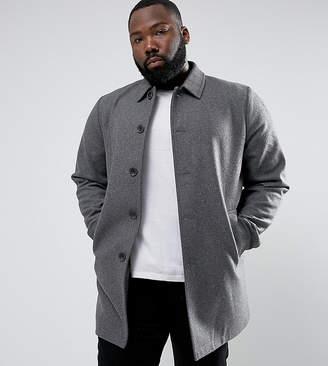Asos Plus Wool Mix Trench Coat In Light Grey