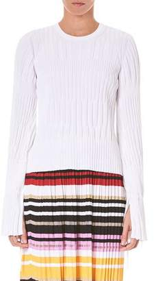 Carolina Herrera Long-Sleeve Knitted Blouse w/ Cuff Ties