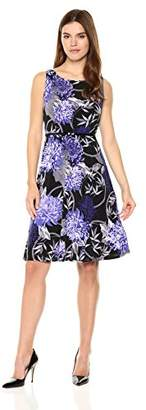 Nine West Women's Slvless Printed Fit & Flare Dress