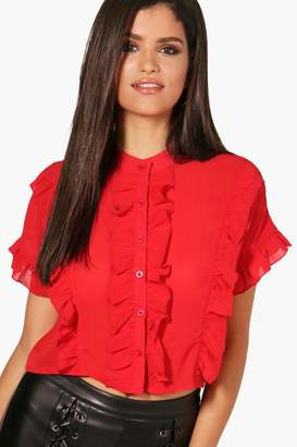 boohoo Grace Ruffle Short Sleeved Shirt $30 thestylecure.com