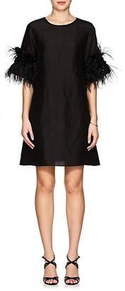 Azeeza AZEEZA WOMEN'S VIOLET EMBELLISHED SILK SHIFT DRESS - BLACK SIZE XS