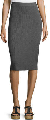 Eileen Fisher Washable Wool Ribbed Pencil Skirt, Black
