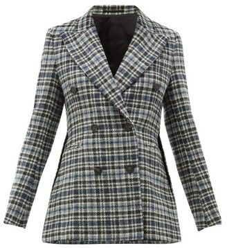 Golden Goose Checked Double Breasted Wool Tweed Blazer - Womens - Blue Multi