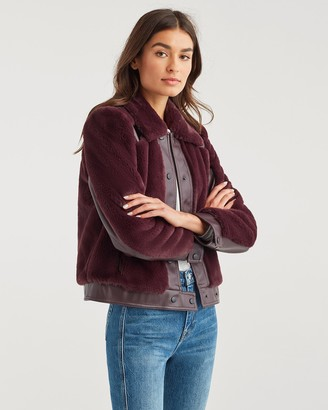 7 For All Mankind Cropped Faux Fur Jacket in Deep Purple