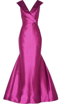 Mikael Aghal Fluted Duchesse-satin Gown