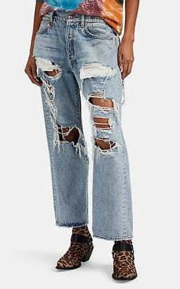 R 13 Women's Hawaiian-Print-Inset Distressed Boyfriend Jeans - Blue