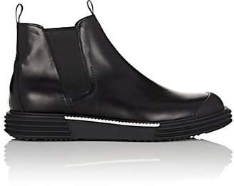 Prada Men's Wedge-Sole Leather Chelsea Boots - Black