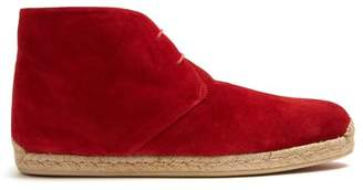 Christian Louboutin Neocadaques Lace Up Suede Espadrilles - Mens - Red