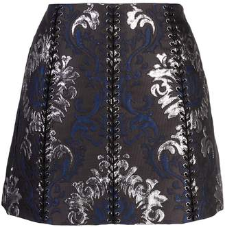 Vera Wang lace-up detail mini skirt