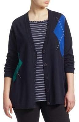 Marina Rinaldi, Plus Size Argyle Cardigan