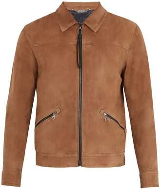 Lanvin Zip-through suede bomber jacket
