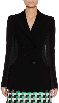 Emporio Armani Double-Breasted Long Wool-Blend Jacket w/ Quilted Combo