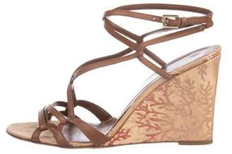 Valentino Leather Ankle-Strap Wedges