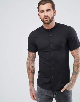 Asos Muscle Viscose Shirt With Granddad Collar In Black