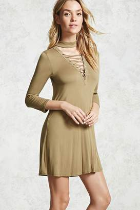 Forever 21 Lace-Up Choker Neck Dress