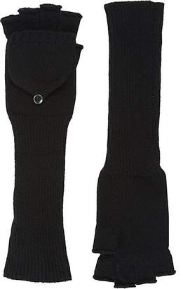 Barneys New York Women's Fingerless Convertible Mittens - Black