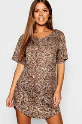 boohoo Petite Leopard Print T-Shirt Nightie