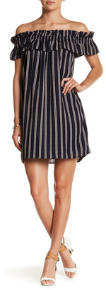 Collective Concepts Off-the-Shoulder Stripe Shift Dress $78 thestylecure.com