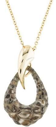 Alexis Bittar Metallic Crocodile Textured Lucite Teardrop Pendant Necklace