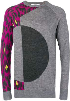 Chalayan leopard print panelled jumper