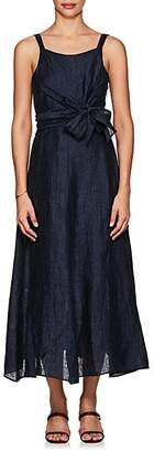 Masscob Women's Linen-Blend Self-Tie Maxi Dress - Navy