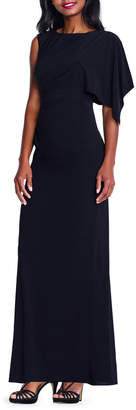 Adrianna Papell Asymmetric Flutter-Sleeve Jersey Gown