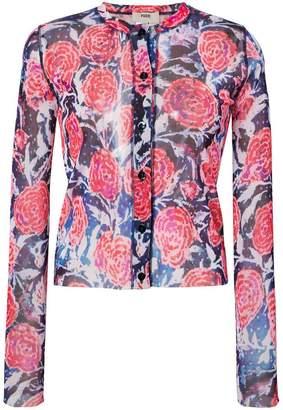 Fuzzi sheer floral blouse