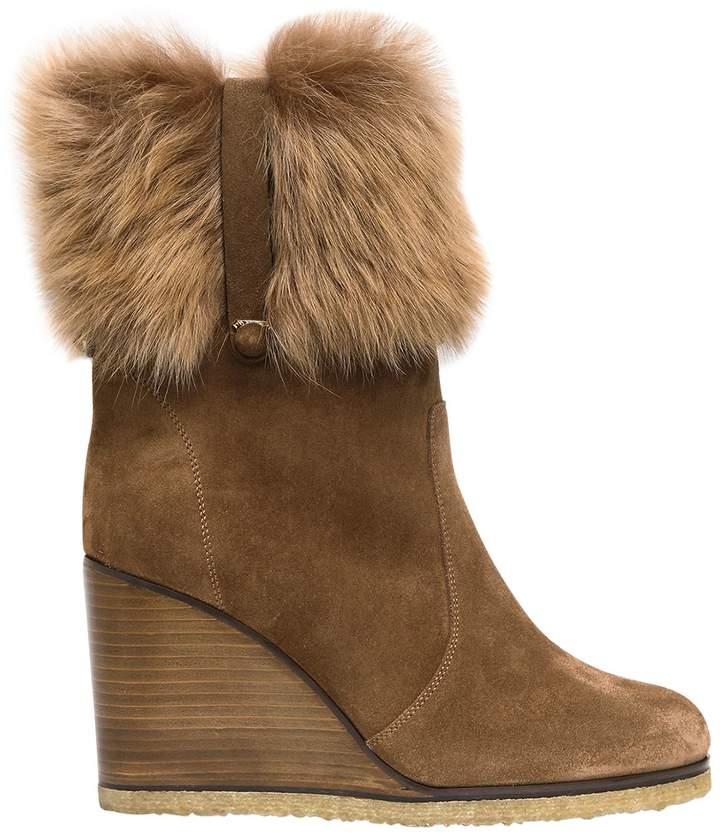 85mm Sondrio Suede & Fur Wedged Boots