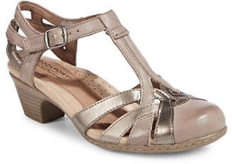 Rockport COBB HILL Round Toe Leather T-Strap Sandals