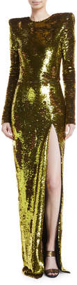 Alexandre Vauthier Sequined Long-Sleeve Side-Slit Gown