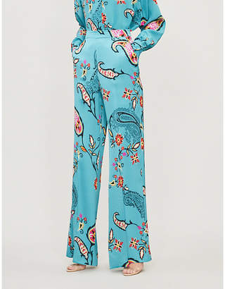 Etro Paisley-print high-rise wide satin trousers