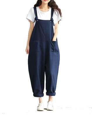 5807ea0f594 Naliha Womens Cotton Linen Overalls Plus Size Strap Loose Harem Jumpsuit  Rompers 5XL