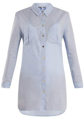 Heidi Klein St Barths Herringbone Cotton Shirt - Womens - Light Blue
