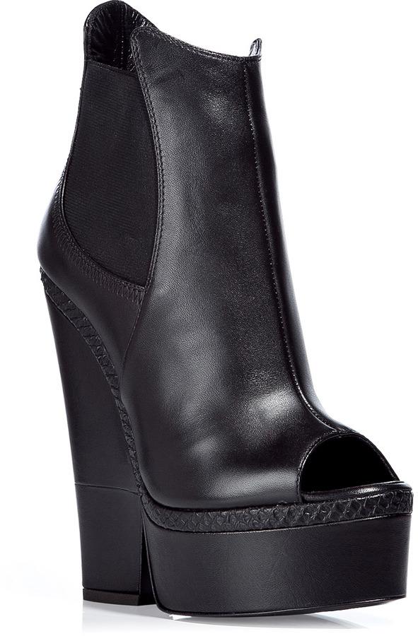Giuseppe Zanotti Black Peep Toe Platform Booties
