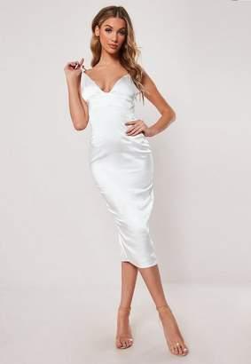 Missguided White Stretch Satin Cupped Bodycon Midi Dress, White